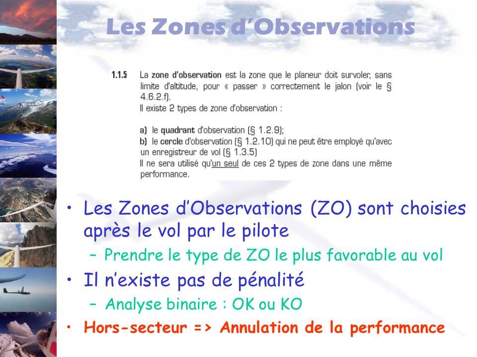 Les Zones dObservations Les Zones dObservations (ZO) sont choisies après le vol par le pilote –Prendre le type de ZO le plus favorable au vol Il nexis