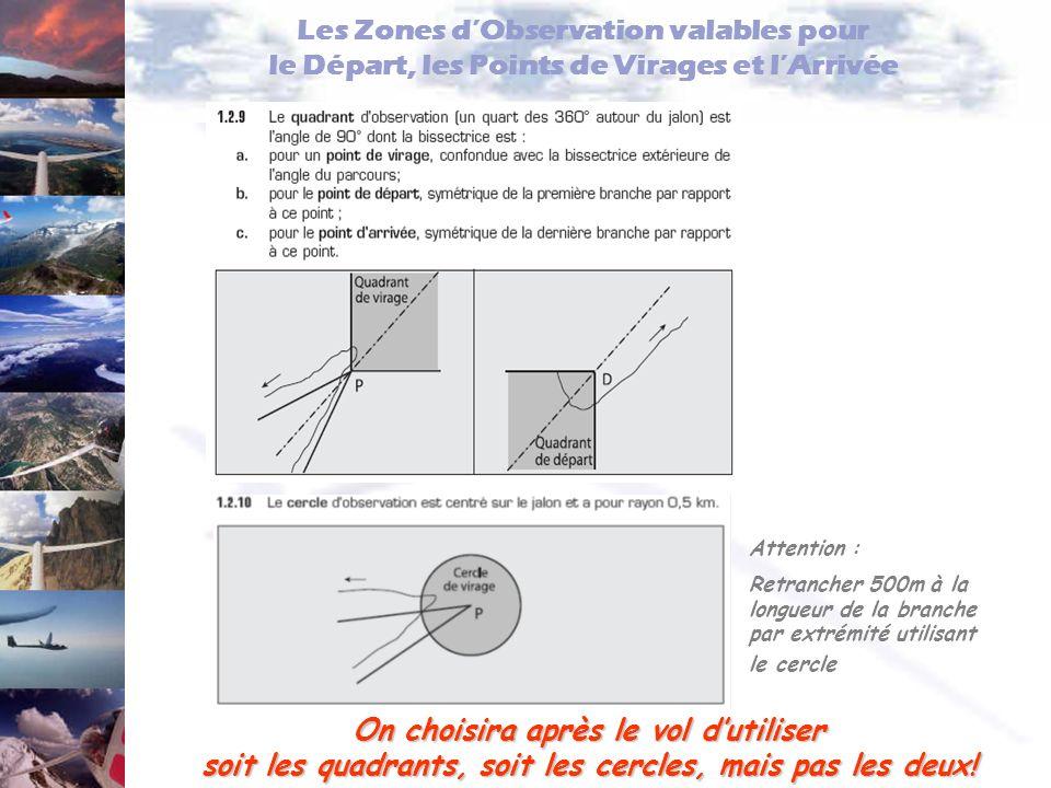 Les Zones dObservation valables pour le Départ, les Points de Virages et lArrivée Attention : Retrancher 500m à la longueur de la branche par extrémit