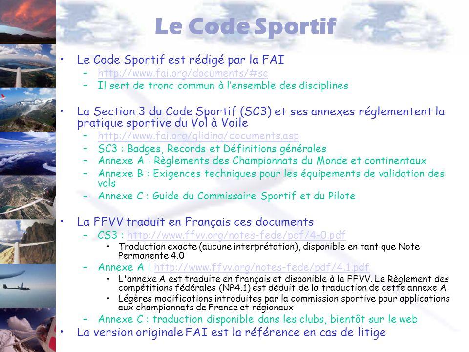 Le Code Sportif Le Code Sportif est rédigé par la FAI –http://www.fai.org/documents/#schttp://www.fai.org/documents/#sc –Il sert de tronc commun à len