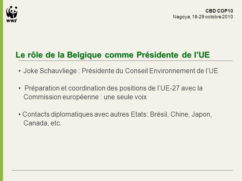 Le rôle de la Belgique comme Présidente de lUE Joke Schauvliege : Présidente du Conseil Environnement de lUE Préparation et coordination des positions