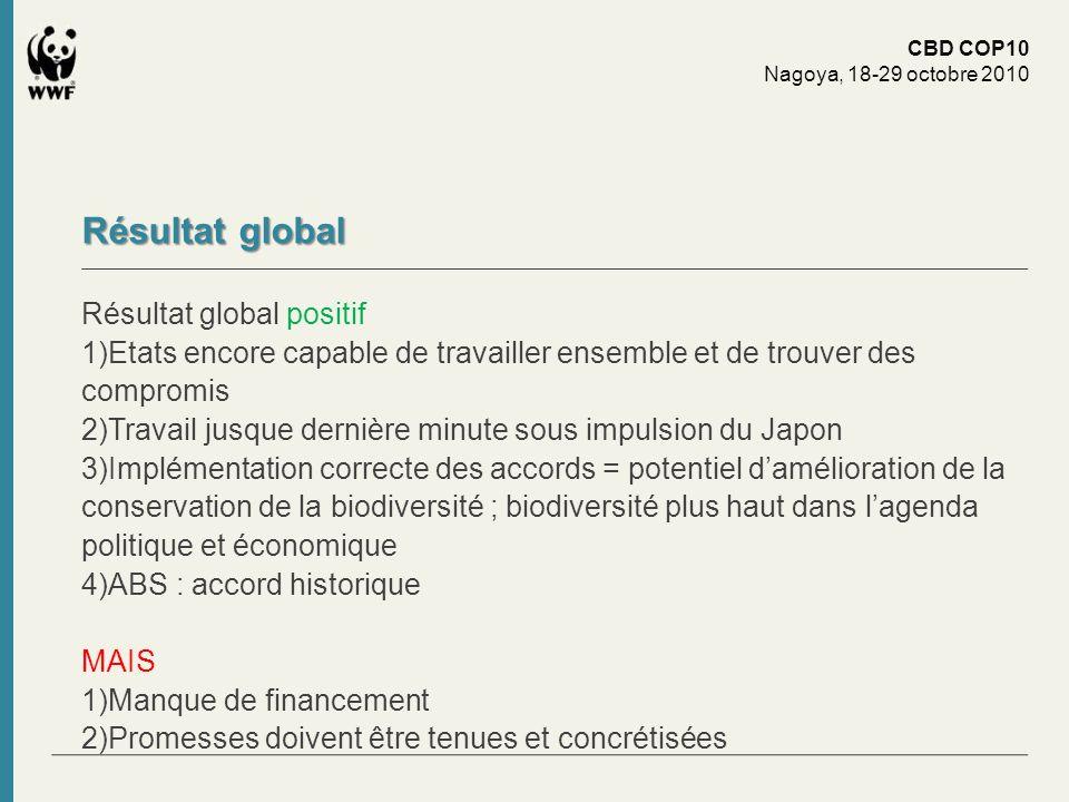 Résultat global Résultat global positif 1)Etats encore capable de travailler ensemble et de trouver des compromis 2)Travail jusque dernière minute sou