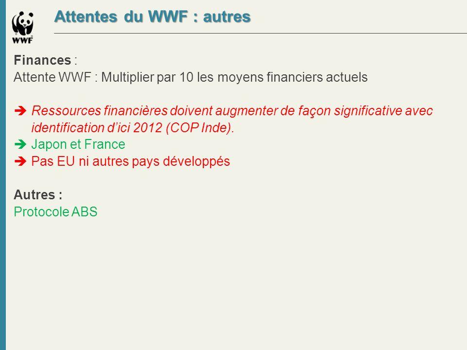 Attentes du WWF : autres Finances : Attente WWF : Multiplier par 10 les moyens financiers actuels Ressources financières doivent augmenter de façon si
