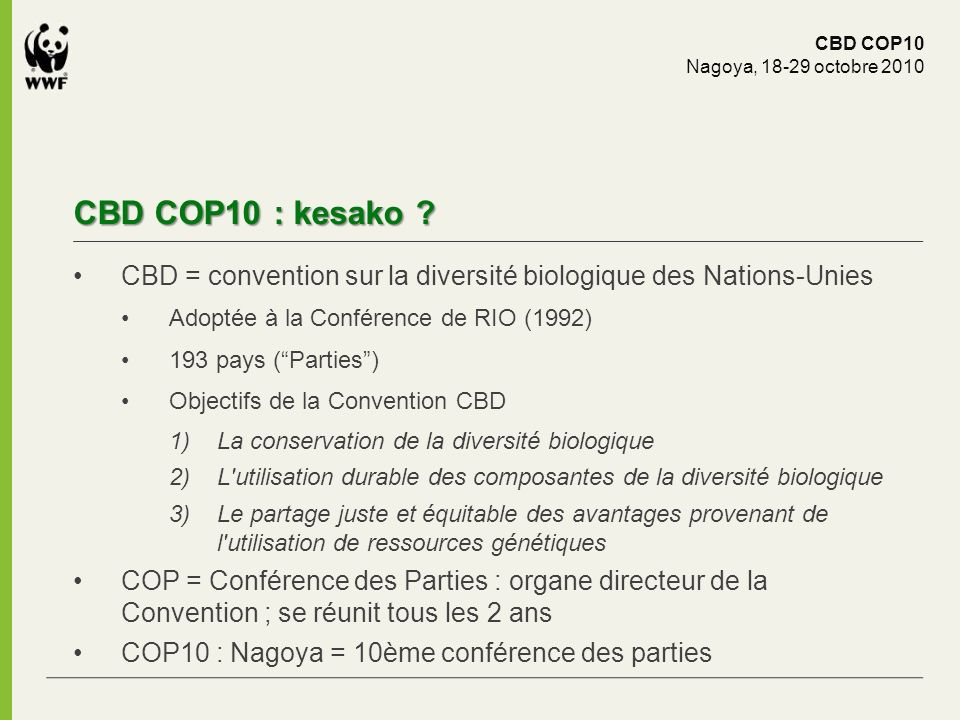 CBD COP10 : kesako ? CBD COP10 Nagoya, 18-29 octobre 2010 CBD = convention sur la diversité biologique des Nations-Unies Adoptée à la Conférence de RI