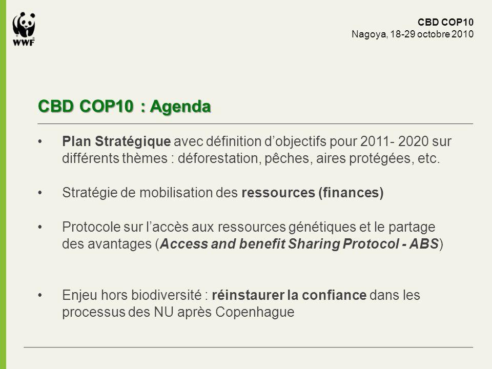 CBD COP10 : Agenda CBD COP10 Nagoya, 18-29 octobre 2010 Plan Stratégique avec définition dobjectifs pour 2011- 2020 sur différents thèmes : déforestat