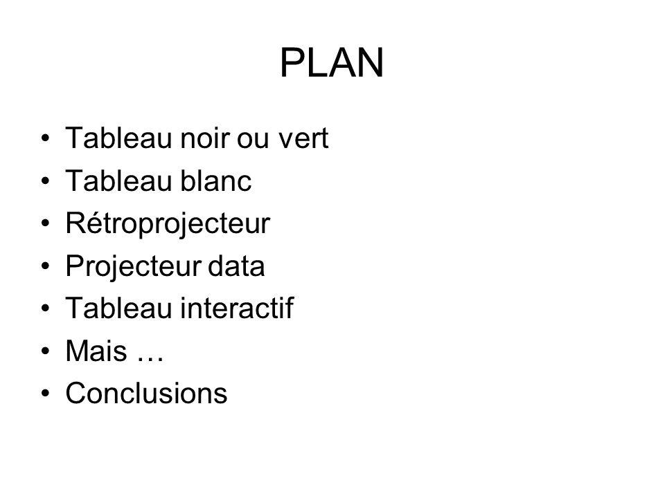 PLAN Tableau noir ou vert Tableau blanc Rétroprojecteur Projecteur data Tableau interactif Mais … Conclusions