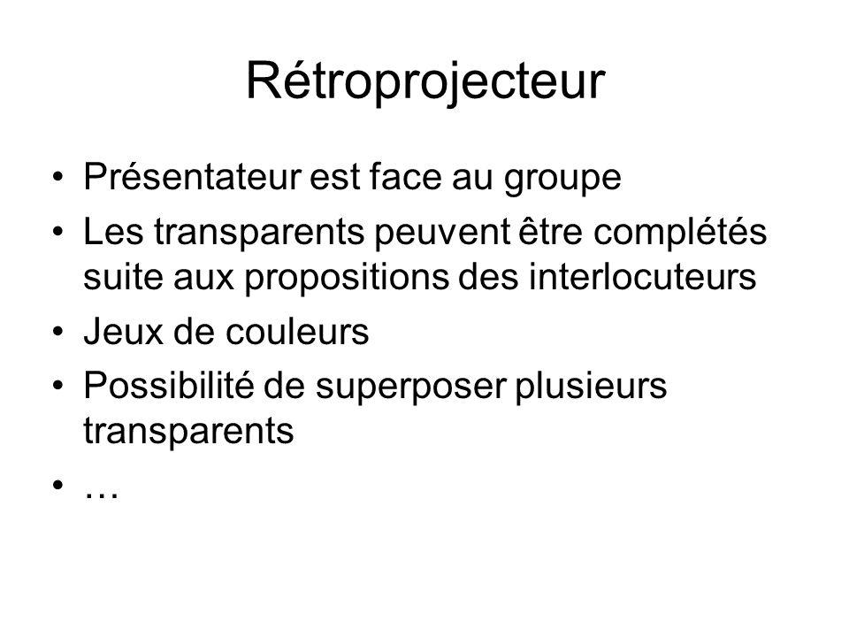 Rétroprojecteur Présentateur est face au groupe Les transparents peuvent être complétés suite aux propositions des interlocuteurs Jeux de couleurs Possibilité de superposer plusieurs transparents …
