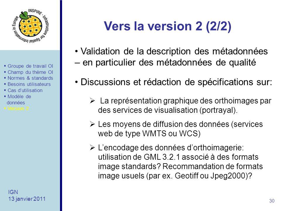 Vers la version 2 (2/2) 30 IGN 13 janvier 2011 La représentation graphique des orthoimages par des services de visualisation (portrayal).