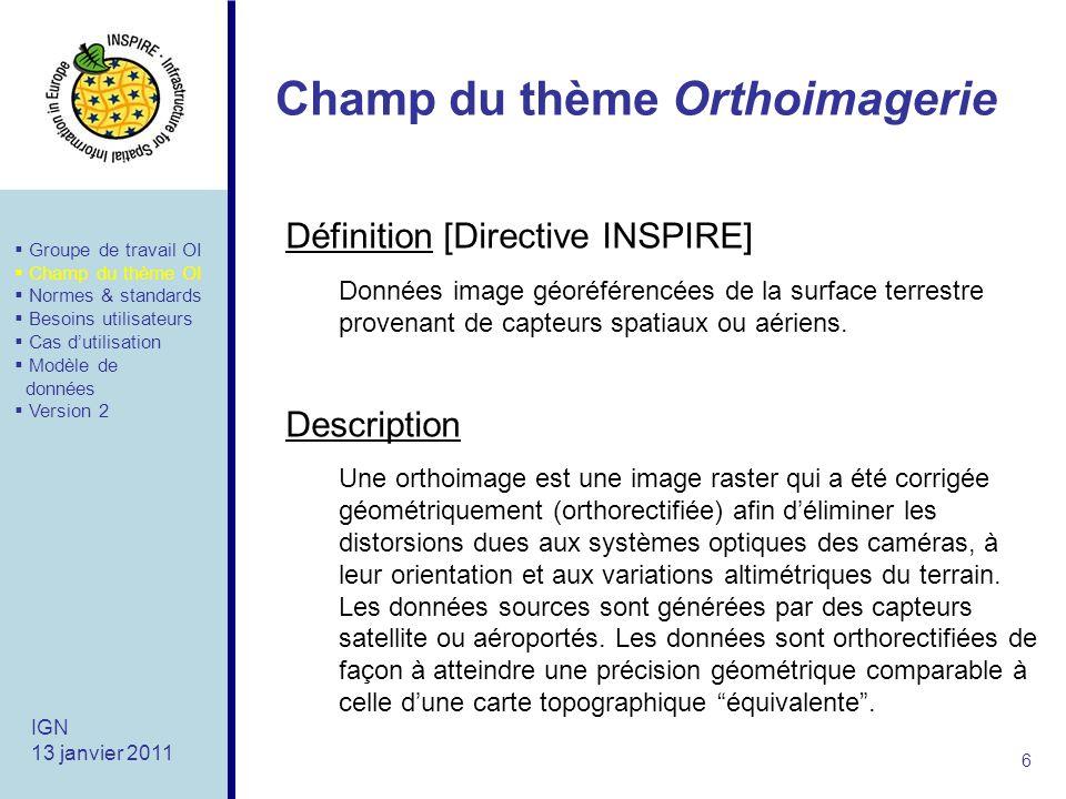 Champ du thème Orthoimagerie 6 IGN 13 janvier 2011 Définition [Directive INSPIRE] Données image géoréférencées de la surface terrestre provenant de capteurs spatiaux ou aériens.