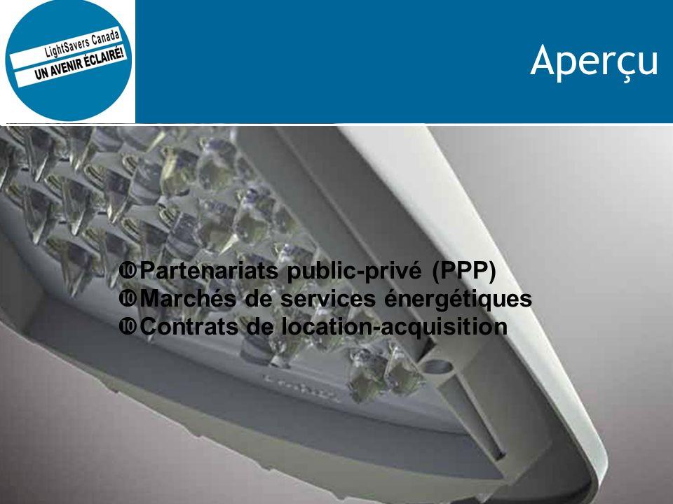Aperçu Partenariats public-privé (PPP) Marchés de services énergétiques Contrats de location-acquisition