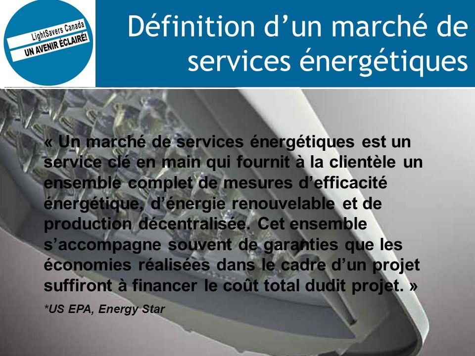 Définition dun marché de services énergétiques « Un marché de services énergétiques est un service clé en main qui fournit à la clientèle un ensemble complet de mesures defficacité énergétique, dénergie renouvelable et de production décentralisée.