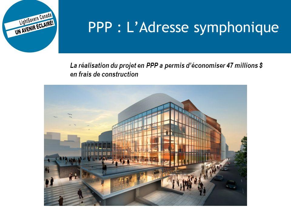 PPP : LAdresse symphonique La réalisation du projet en PPP a permis déconomiser 47 millions $ en frais de construction