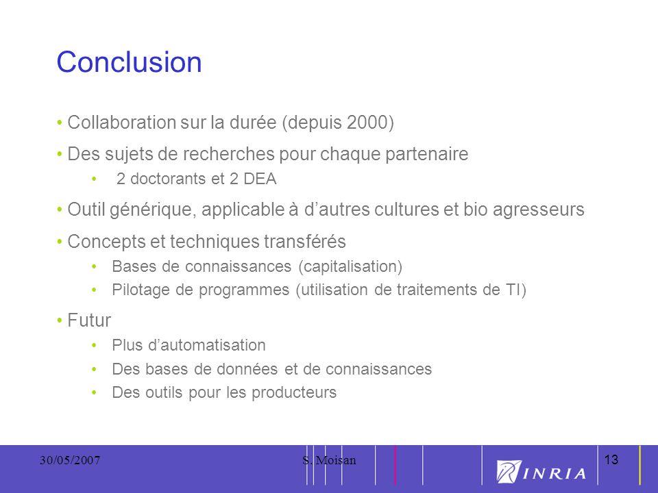 13 30/05/2007S. Moisan13 Conclusion Collaboration sur la durée (depuis 2000) Des sujets de recherches pour chaque partenaire 2 doctorants et 2 DEA Out