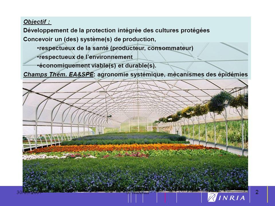 2 30/05/2007S. Moisan2 Objectif : Développement de la protection intégrée des cultures protégées Concevoir un (des) système(s) de production, respectu