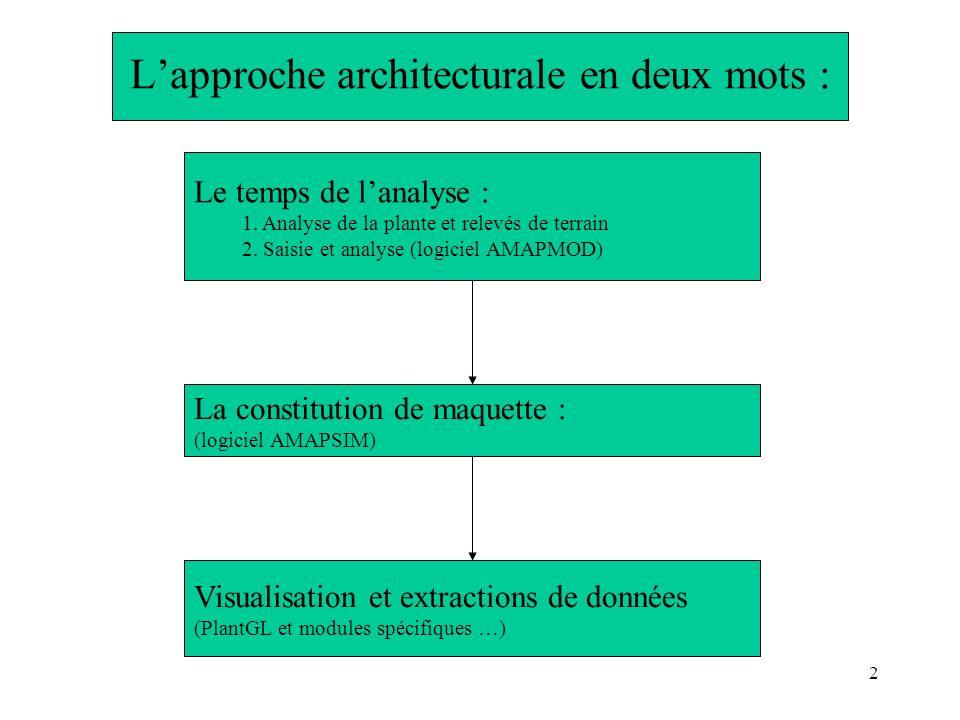 2 Lapproche architecturale en deux mots : Le temps de lanalyse : 1. Analyse de la plante et relevés de terrain 2. Saisie et analyse (logiciel AMAPMOD)