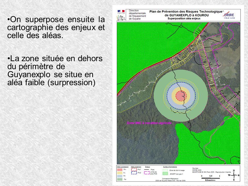 On superpose ensuite la cartographie des enjeux et celle des aléas. La zone située en dehors du périmètre de Guyanexplo se situe en aléa faible (surpr