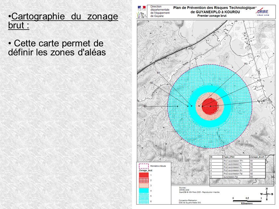 Cartographie du zonage brut : Cette carte permet de définir les zones d'aléas