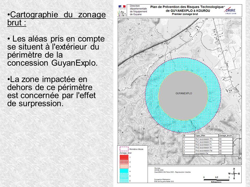 Cartographie du zonage brut : Les aléas pris en compte se situent à l'extérieur du périmètre de la concession GuyanExplo. La zone impactée en dehors d