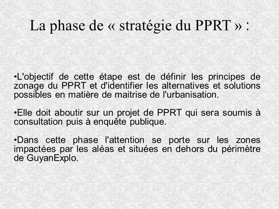 La phase de « stratégie du PPRT » : L'objectif de cette étape est de définir les principes de zonage du PPRT et d'identifier les alternatives et solut