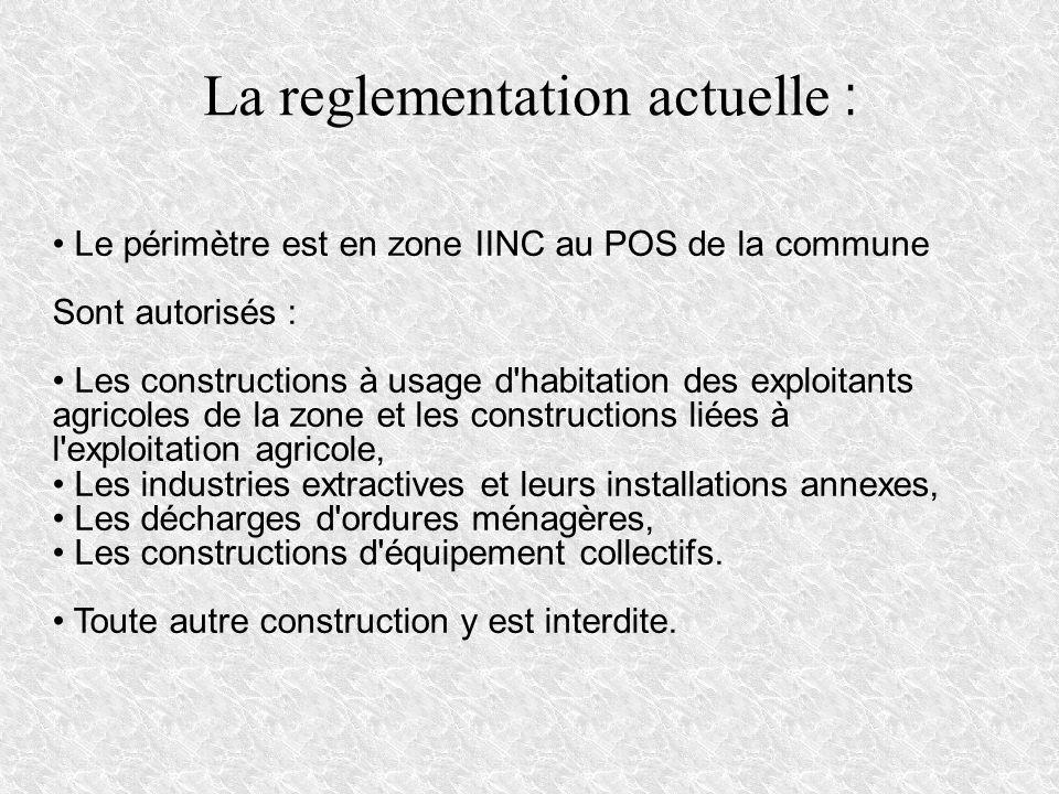 La reglementation actuelle : Le périmètre est en zone IINC au POS de la commune Sont autorisés : Les constructions à usage d'habitation des exploitant