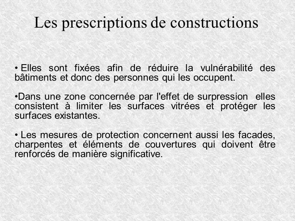 Les prescriptions de constructions Elles sont fixées afin de réduire la vulnérabilité des bâtiments et donc des personnes qui les occupent. Dans une z