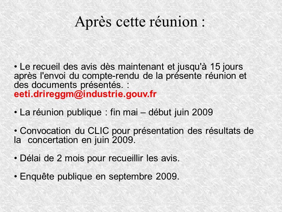 Après cette réunion : Le recueil des avis dès maintenant et jusqu'à 15 jours après l'envoi du compte-rendu de la présente réunion et des documents pré