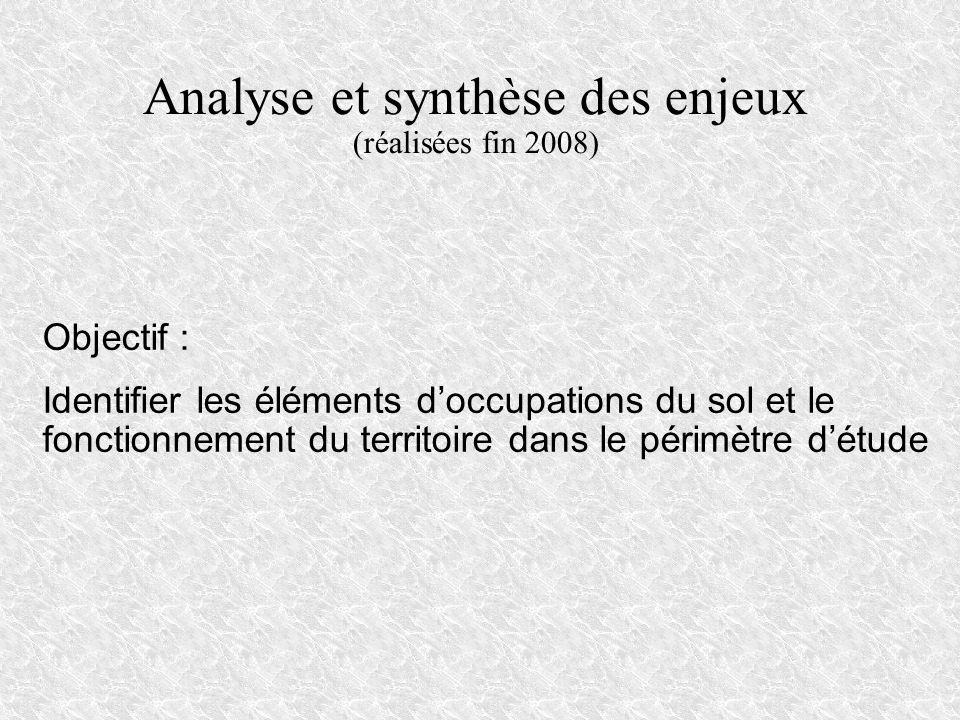 Analyse et synthèse des enjeux (réalisées fin 2008) Objectif : Identifier les éléments doccupations du sol et le fonctionnement du territoire dans le