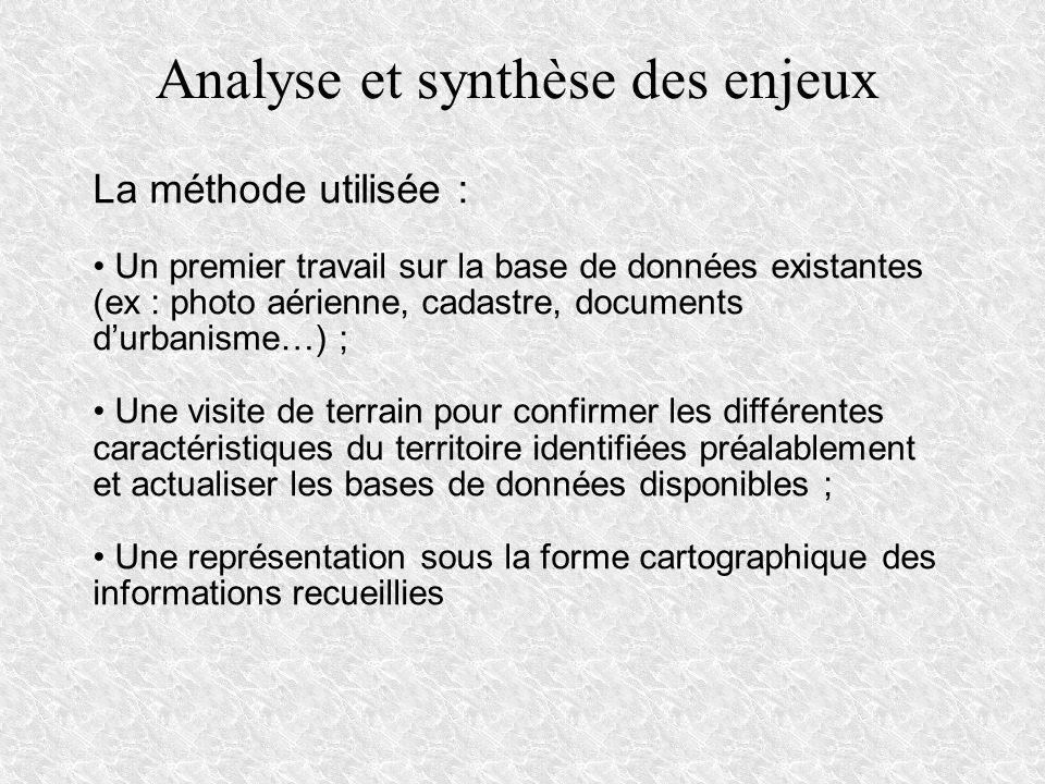 La méthode utilisée : Un premier travail sur la base de données existantes (ex : photo aérienne, cadastre, documents durbanisme…) ; Une visite de terr