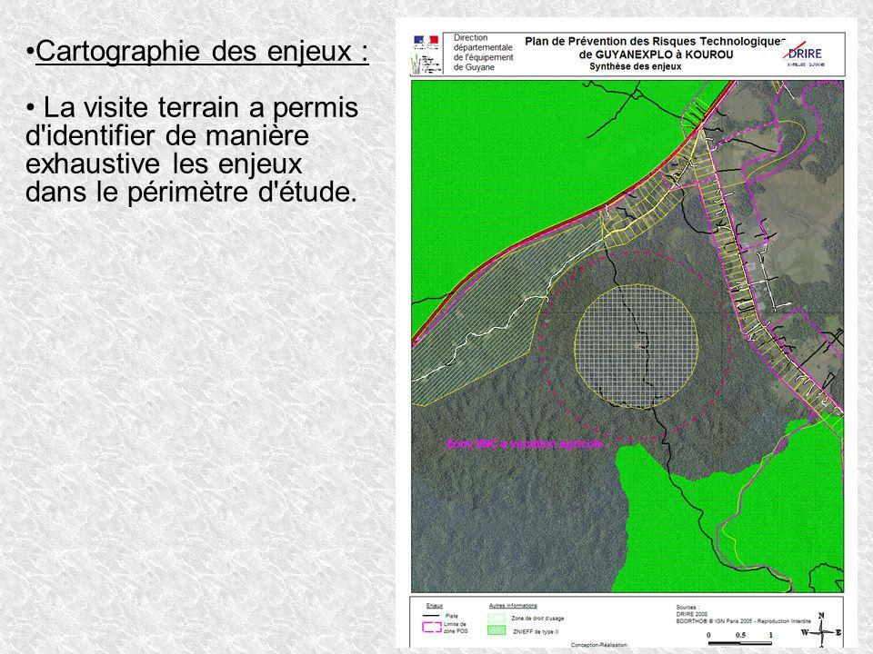 Cartographie des enjeux : La visite terrain a permis d'identifier de manière exhaustive les enjeux dans le périmètre d'étude.