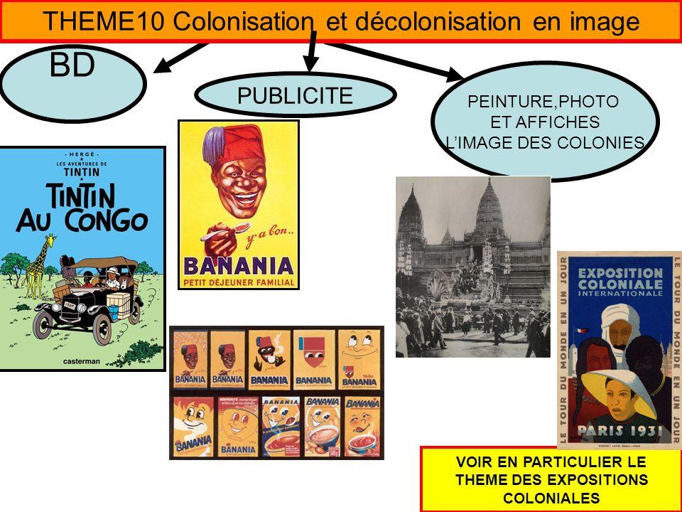 THEME10 Colonisation et décolonisation en image PUBLICITE BANANIA ET LIMAGE DU TIRAILLEUR SENEGALAIS 1 http://representation-du-noir.blogspot.fr/ 2 http://www.prodimarques.com/sagas_marques/banania/banania.php 3 http://www.ac-nancy-metz.fr/ia88/histoart/XX%20s/affichebanania.pdf 4 http://renawak.free.fr/tpe/partie2.htm 5 http://tpe-banania.e-monsite.com/pages/histoire-de-banania.html TINTIN AU CONGO et la mission civilisatrice de la colonisation 6http://www.clg-delaunay-grigny.ac-versailles.fr/wp-content/uploads/2011/05/Tintin-au-Congo-cours.pdf 7 http://m.quentin-ac-creteil.fr.over-blog.com/article-tintin-au-congo-ou-la-mission-civilisatrice-de-la-colonisation-98321681.html 8 http://blogs.mondomix.com/samarra.php/2009/11/28/tintin-au-congo-ou-la-mission-civilisatr 9 http://www.extpdf.com/tintin-au-congo-pdf.html