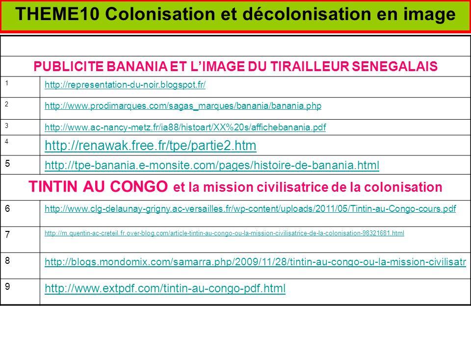 THEME10 Colonisation et décolonisation en image PEINTURE, PHOTO ET AFFICHE :LIMAGE DES COLONIE,S 1 http://www.histoire-image.org/site/rech/resultat.php?m=COLONISATION 2 http://www.histoire-image.org/site/oeuvre/analyse.php?i=870 3 http://www.histoire-image.org/site/oeuvre/analyse.php?i=309 4 http://www.histoire-image.org/site/etude_comp/etude_comp_detail.php?i=873&id_sel=529 5 Etude de lExposition coloniale de 1931et le Palais des colonies 6http://www.palais-portedoree.fr/fr/decouvrir-le-palais/lhistoire-du-palais/lexposition-coloniale-de-1931 7http://fresques.ina.fr/jalons/fiche-media/InaEdu04713/l-exposition-coloniale-de-1931-a-vincennes.html 8 http://www.herodote.net/6_mai_1931-evenement-19310506.php http://www.urcaue-idf.archi.fr/enfants/doc/ext_media_fichier_443_parcours_palais.pdf 9 http://etudescoloniales.canalblog.com/archives/2006/08/25/2840733.html