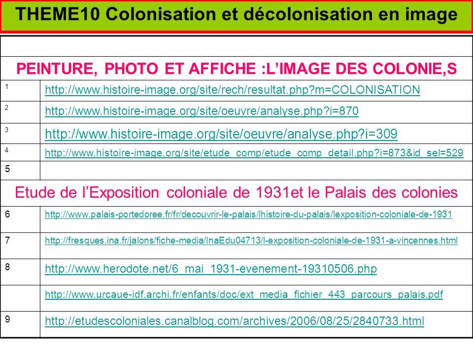 THEME10 Colonisation et décolonisation en image PEINTURE, PHOTO ET AFFICHE :LIMAGE DES COLONIE,S 1 http://www.histoire-image.org/site/rech/resultat.ph