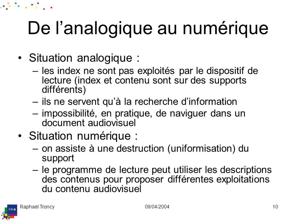 Raphaël Troncy09/04/200410 De lanalogique au numérique Situation analogique : –les index ne sont pas exploités par le dispositif de lecture (index et