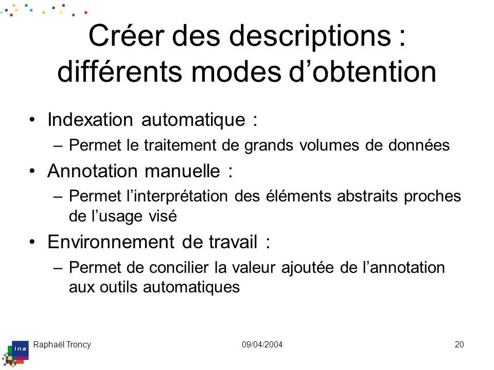 Raphaël Troncy09/04/200420 Créer des descriptions : différents modes dobtention Indexation automatique : –Permet le traitement de grands volumes de do