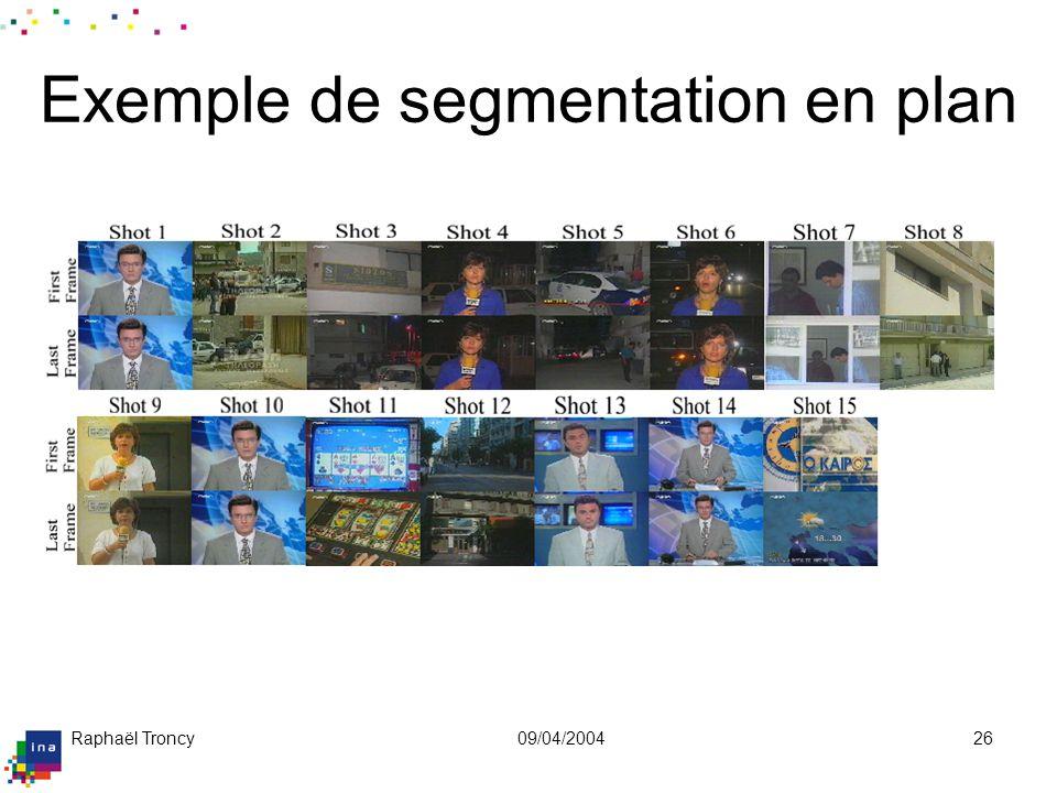 Raphaël Troncy09/04/200426 Exemple de segmentation en plan