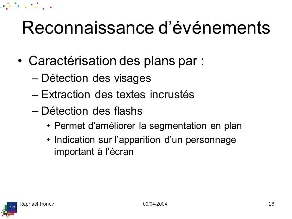 Raphaël Troncy09/04/200428 Reconnaissance dévénements Caractérisation des plans par : –Détection des visages –Extraction des textes incrustés –Détecti