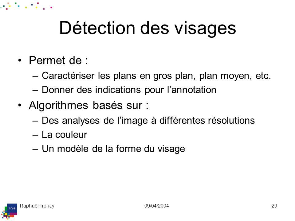 Raphaël Troncy09/04/200429 Détection des visages Permet de : –Caractériser les plans en gros plan, plan moyen, etc. –Donner des indications pour lanno