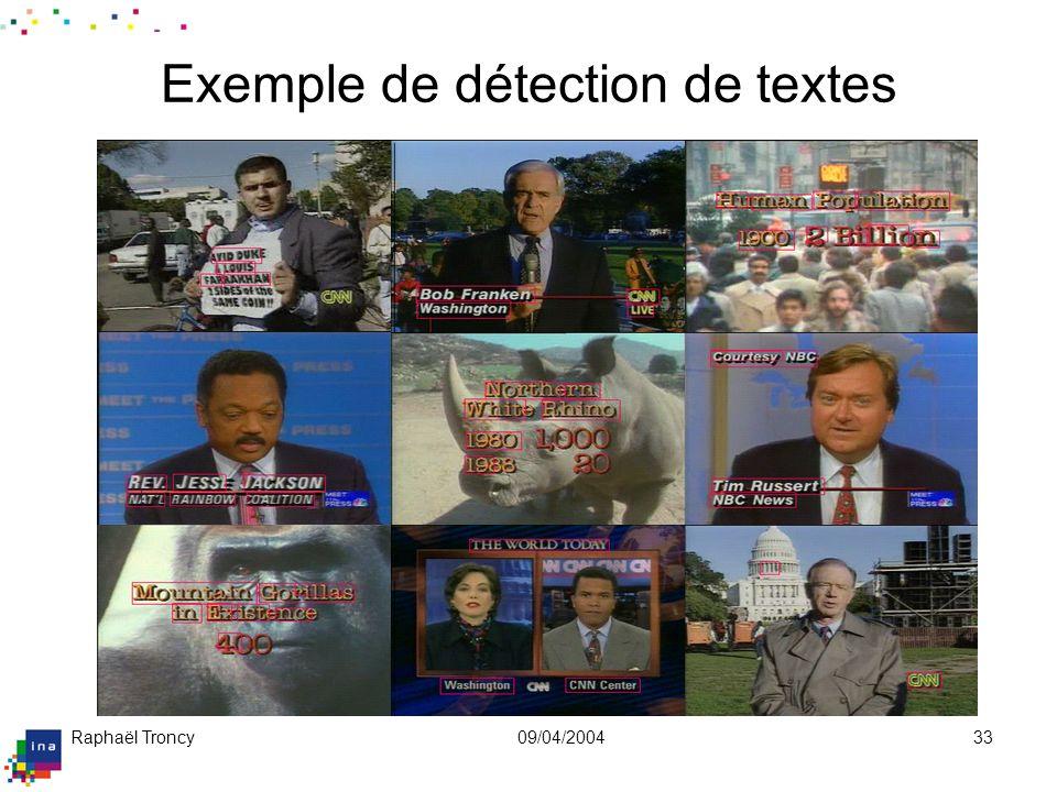 Raphaël Troncy09/04/200433 Exemple de détection de textes