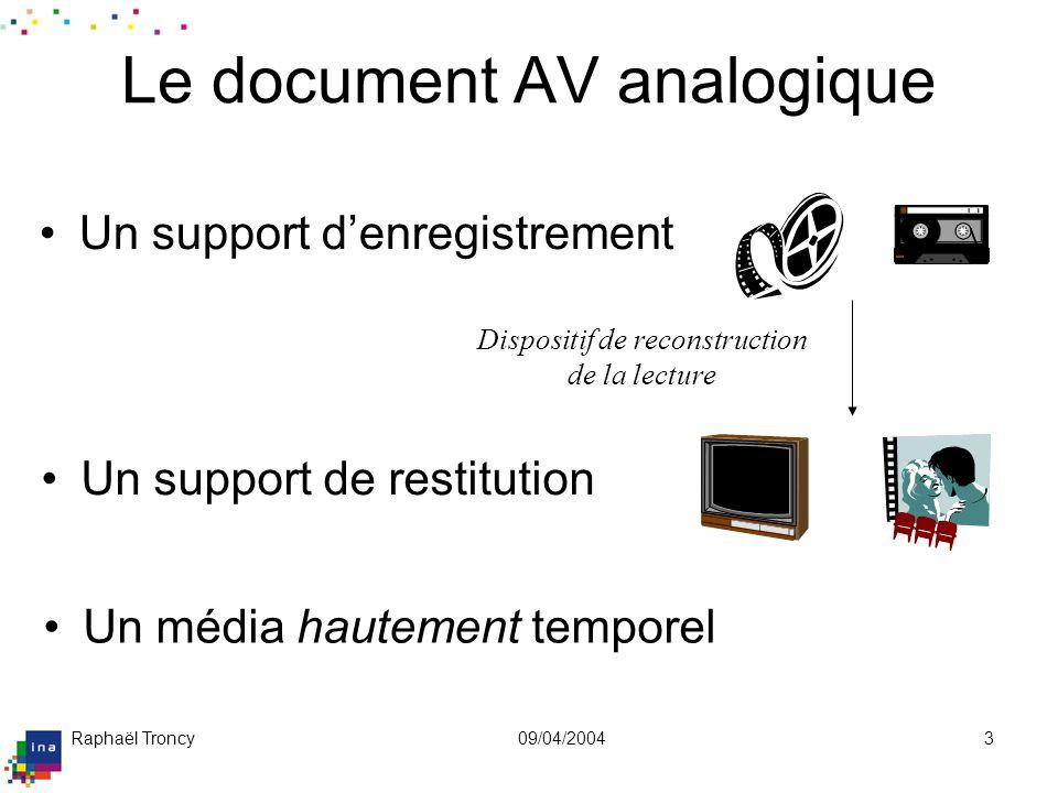 Raphaël Troncy09/04/20043 Le document AV analogique Un support denregistrement Un support de restitution Dispositif de reconstruction de la lecture Un