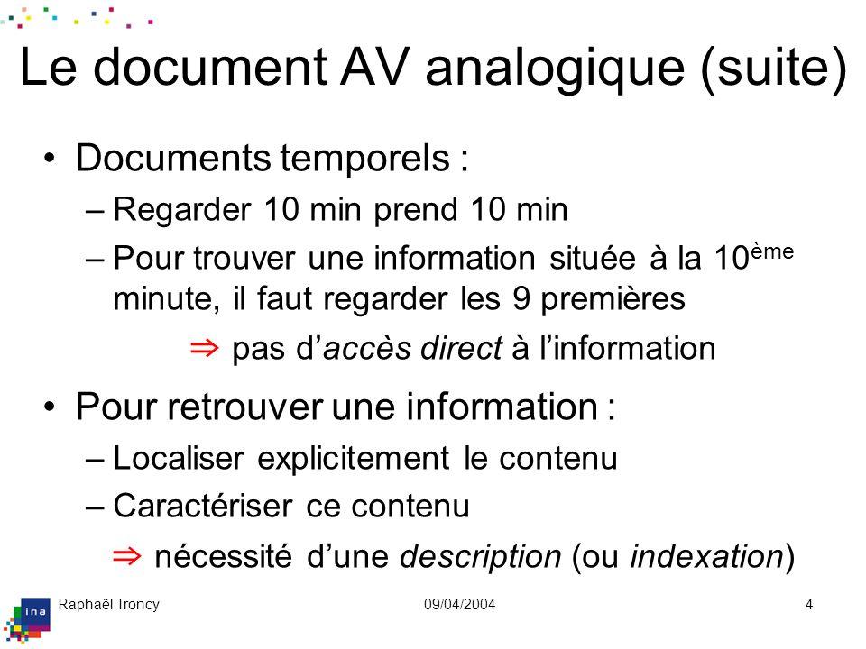 Raphaël Troncy09/04/20044 Le document AV analogique (suite) Documents temporels : –Regarder 10 min prend 10 min –Pour trouver une information située à
