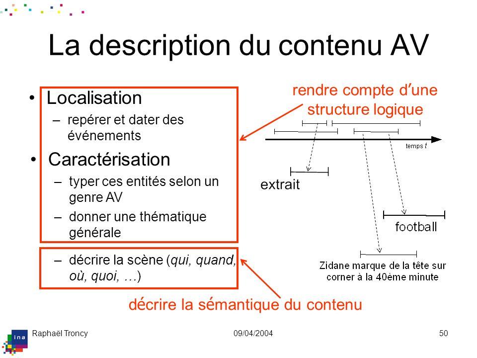 Raphaël Troncy09/04/200450 La description du contenu AV Localisation –repérer et dater des événements Caractérisation –typer ces entités selon un genr