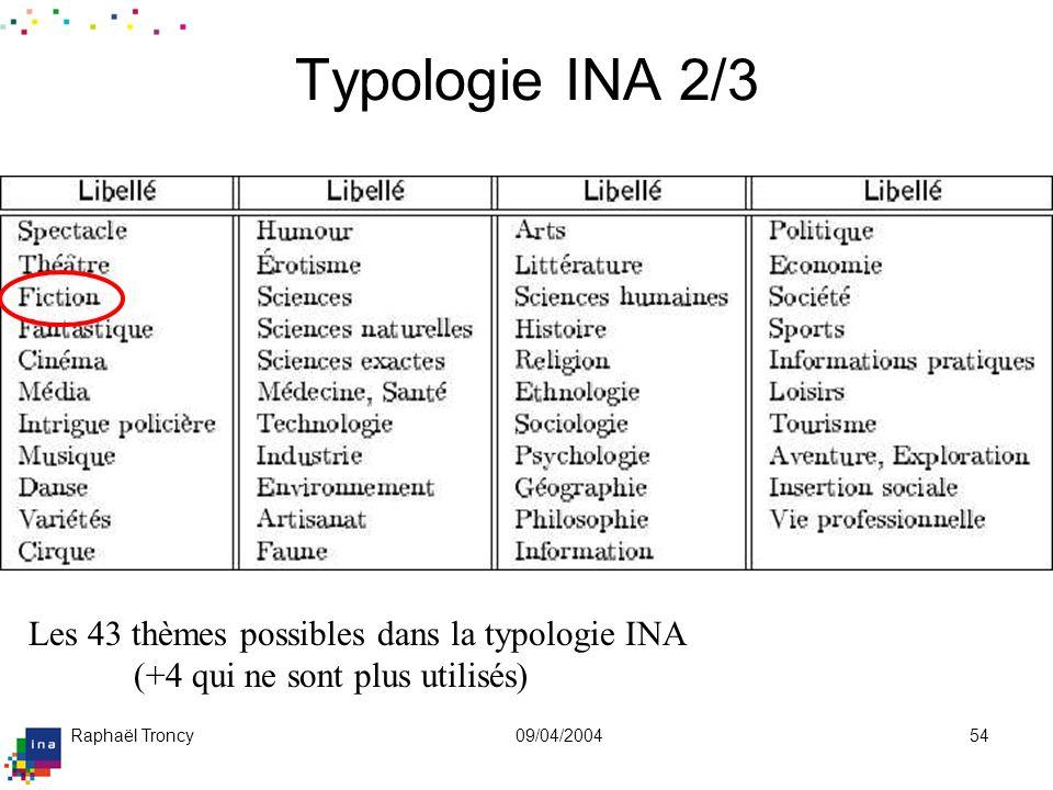 Raphaël Troncy09/04/200454 Typologie INA 2/3 Les 43 thèmes possibles dans la typologie INA (+4 qui ne sont plus utilisés)