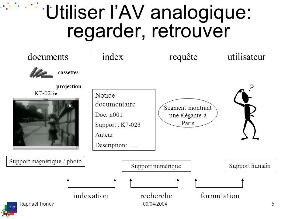 Raphaël Troncy09/04/20045 Notice documentaire Doc: n001 Support : K7-023 Auteur Description: ….. index indexation Support numérique recherche requêteu