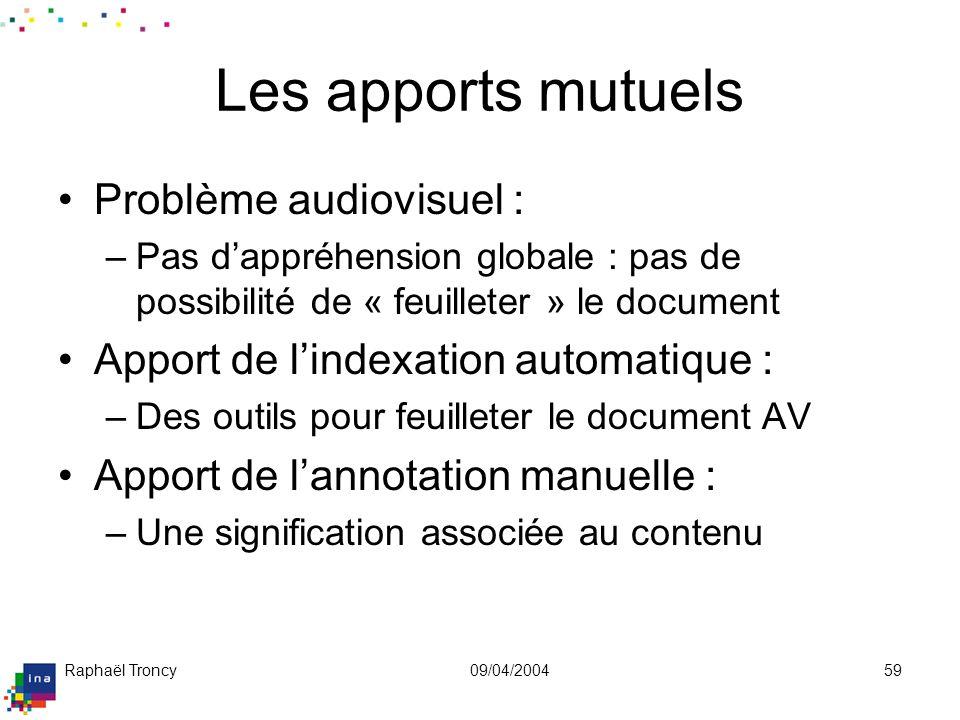 Raphaël Troncy09/04/200459 Les apports mutuels Problème audiovisuel : –Pas dappréhension globale : pas de possibilité de « feuilleter » le document Ap