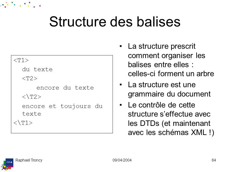 Raphaël Troncy09/04/200464 Structure des balises du texte encore du texte encore et toujours du texte La structure prescrit comment organiser les bali
