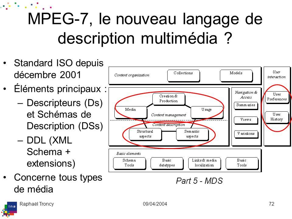 Raphaël Troncy09/04/200472 MPEG-7, le nouveau langage de description multimédia ? Standard ISO depuis décembre 2001 Éléments principaux : –Descripteur