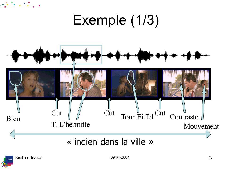 Raphaël Troncy09/04/200475 « indien dans la ville » Exemple (1/3) Contraste Bleu Tour Eiffel Mouvement T. Lhermitte Cut