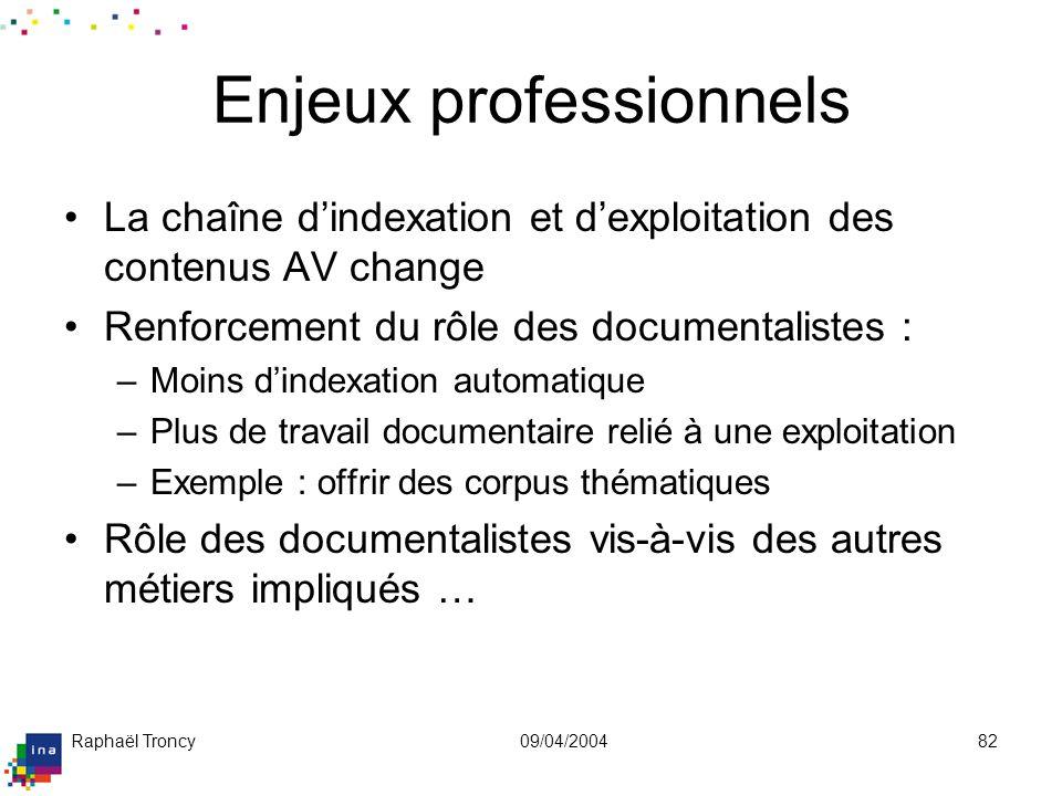 Raphaël Troncy09/04/200482 Enjeux professionnels La chaîne dindexation et dexploitation des contenus AV change Renforcement du rôle des documentaliste
