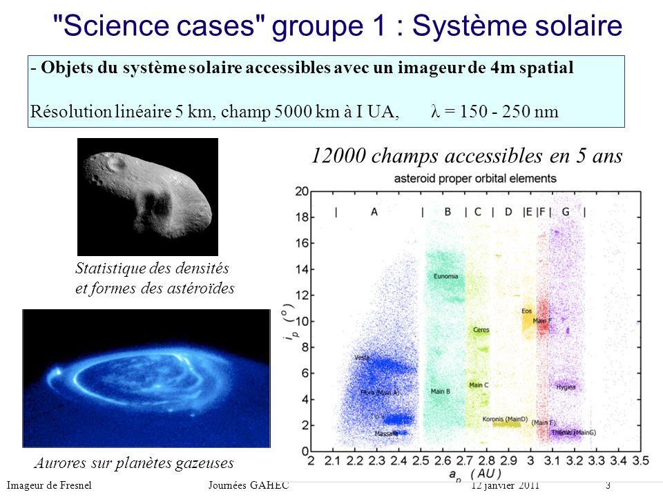 Imageur de Fresnel Journées GAHEC12 janvier 2011 4 Science cases groupe 2 : disques protoplanétaires Environnements stellaires, disques protoplanétaires (formation des systèmes planétaires et exoplanètes) Plusieurs autres cibles proches : TW Hya (56 pc) Taurus, Lupus, Ophiucus (140 pc) et groupe NUVA Simulation numérique Imageur de Fresnel (T.Raksasataya) 12000 champs accessibles en 5 ans avec un imageur de 4m