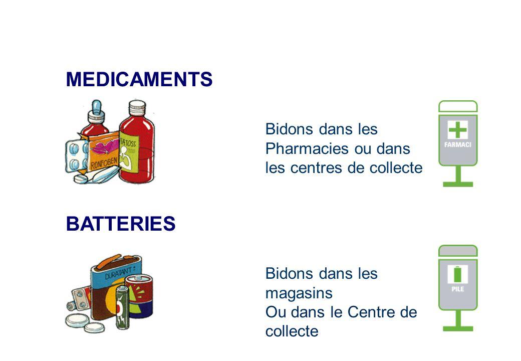 MEDICAMENTS Bidons dans les Pharmacies ou dans les centres de collecte BATTERIES Bidons dans les magasins Ou dans le Centre de collecte