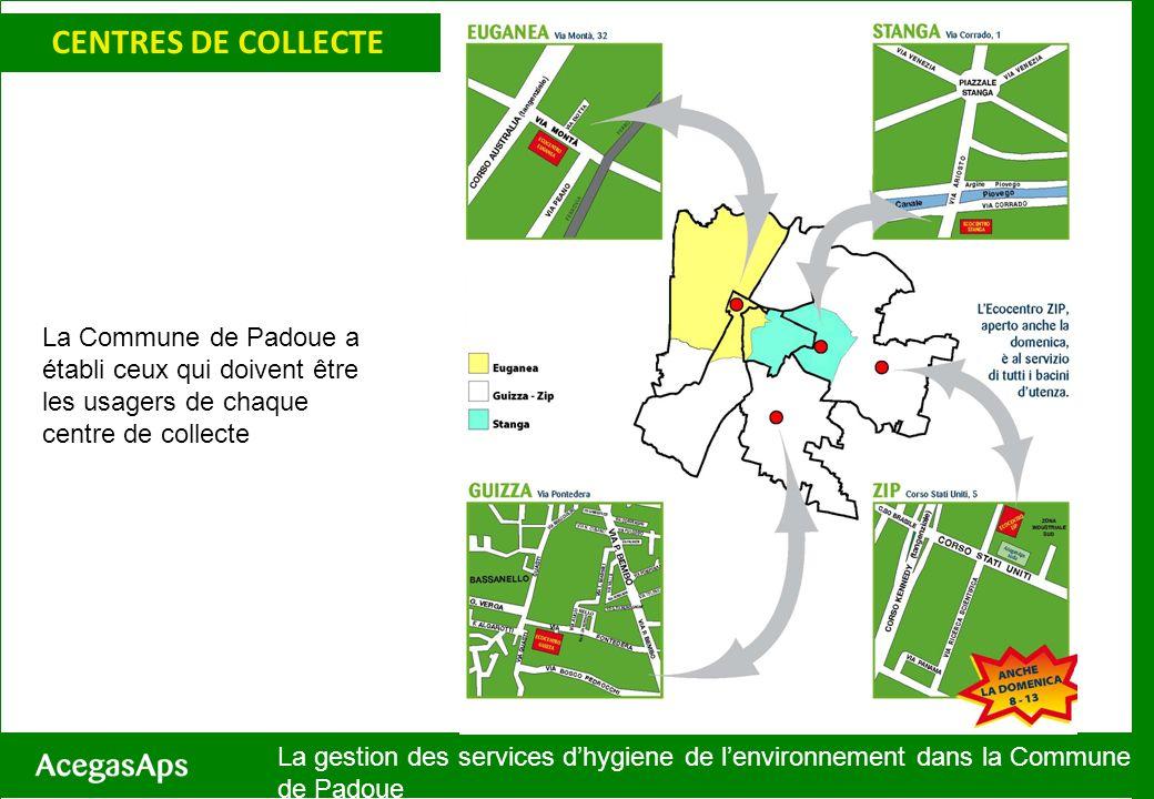 SERVIZI CENTRES DE COLLECTE La gestion des services dhygiene de lenvironnement dans la Commune de Padoue La Commune de Padoue a établi ceux qui doiven